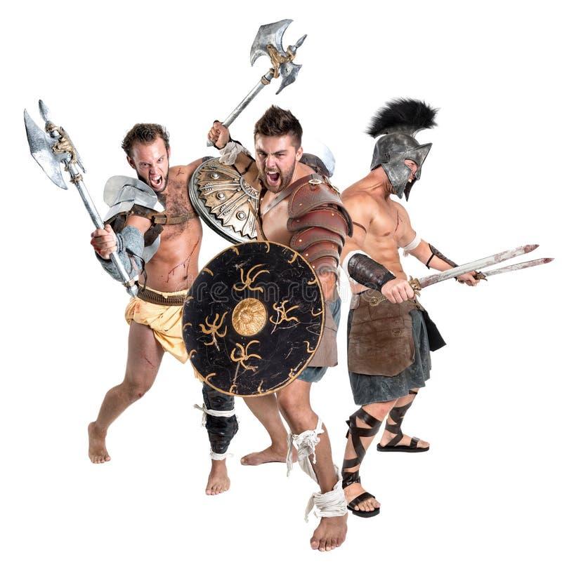 Gladiadores/guerreiros bárbaros foto de stock