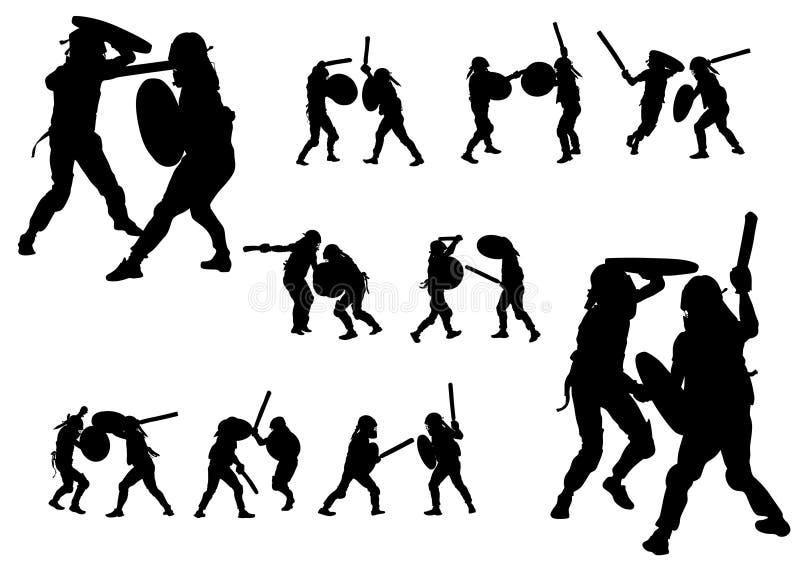 Gladiadores modernos no branco ilustração royalty free