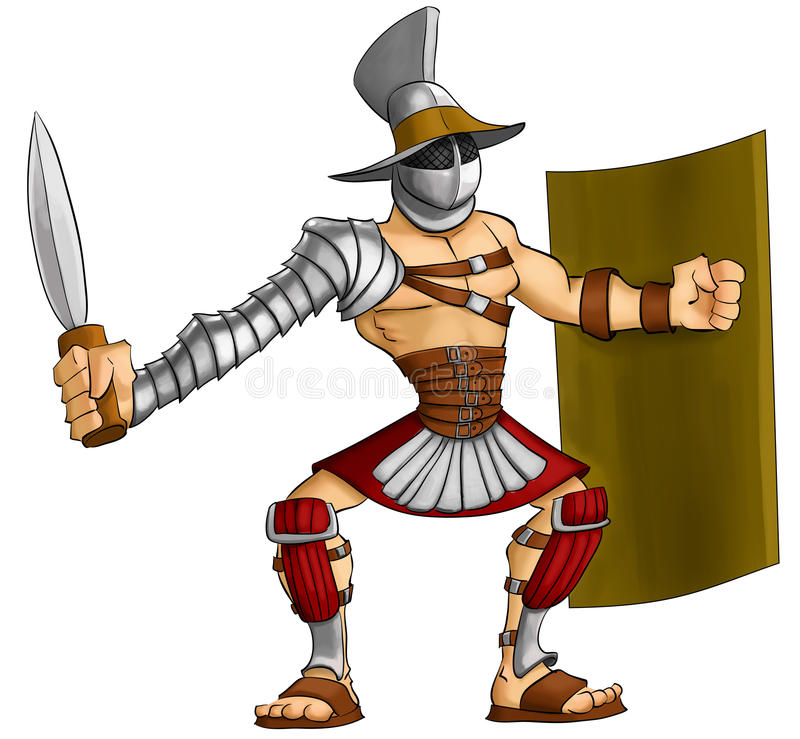 Gladiateur de dessin animé illustration libre de droits