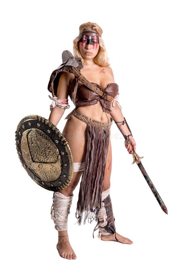 Gladiateur de femme/guerrier antique image stock