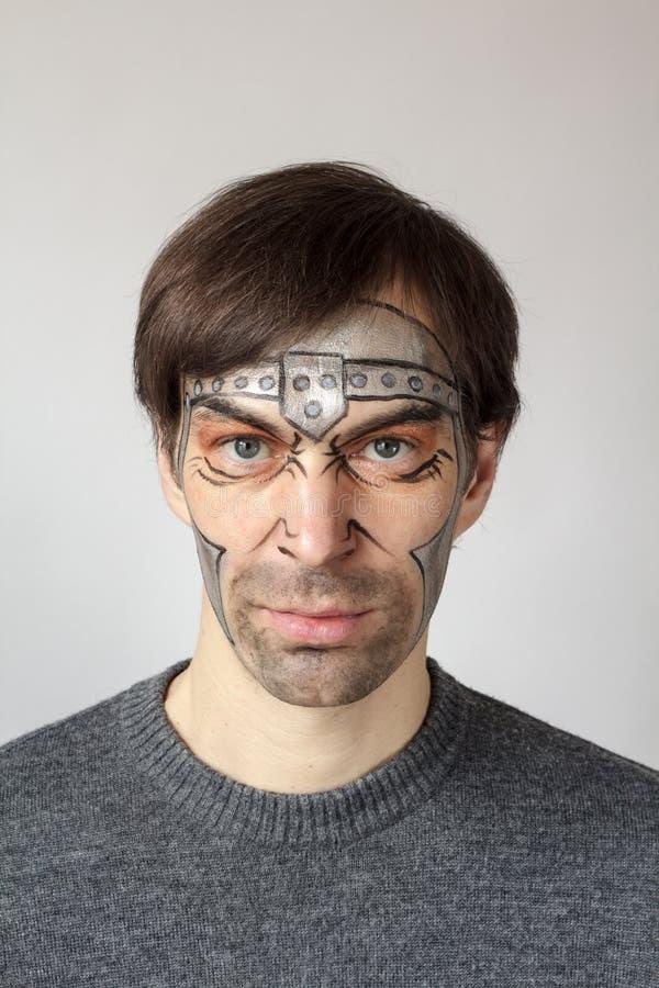 Gladiateur de peinture de visage photographie stock