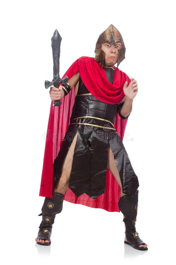 Gladiateur jugeant l'épée d'isolement sur le blanc photographie stock libre de droits