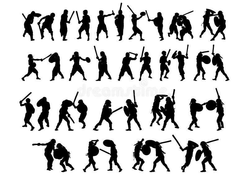 Gladiateurs sportifs sur le blanc illustration stock