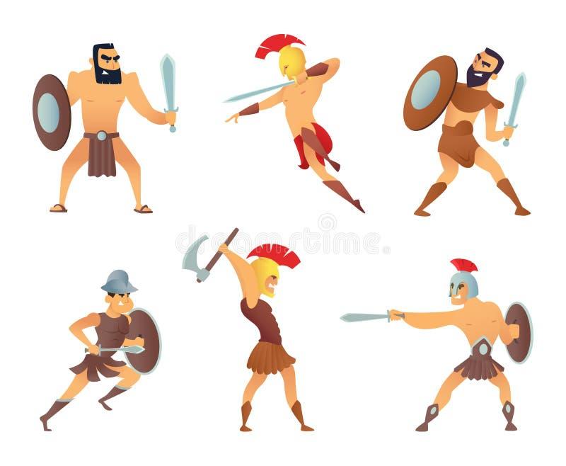 Gladiateurs tenant des épées Caractères de combat dans des poses d'action illustration stock