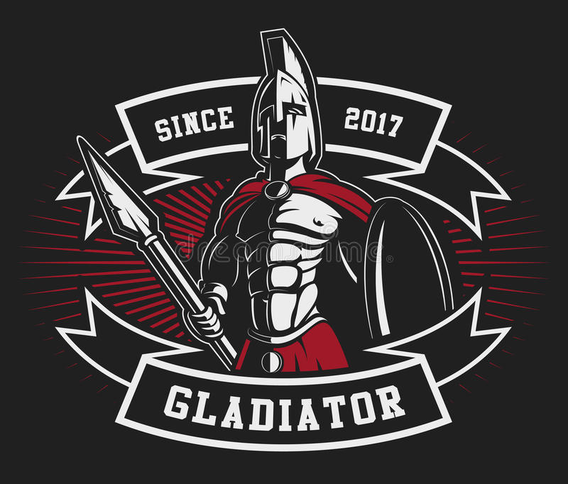 Gladiator έμβλημα με μια λόγχη απεικόνιση αποθεμάτων