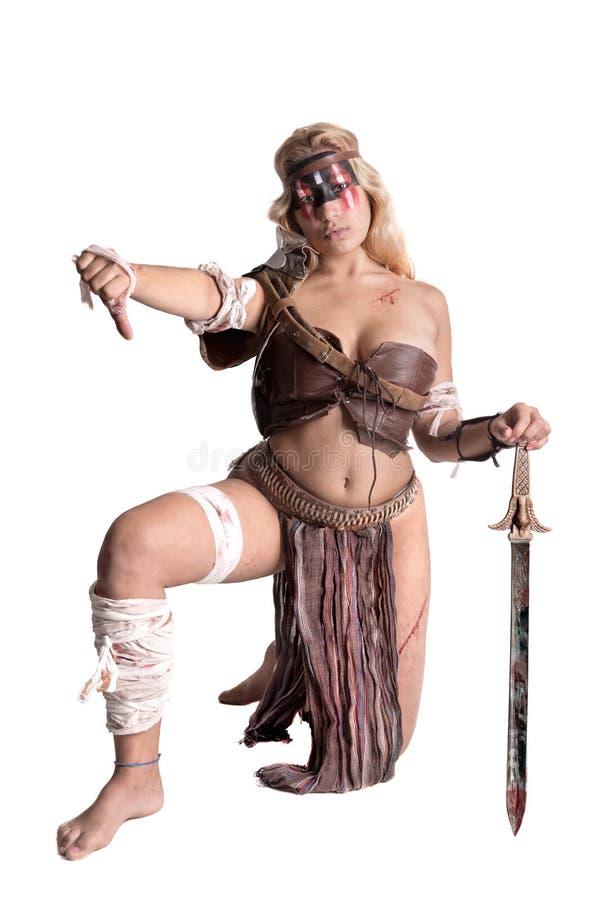 Gladiator γυναικών/αρχαίος πολεμιστής στοκ φωτογραφία
