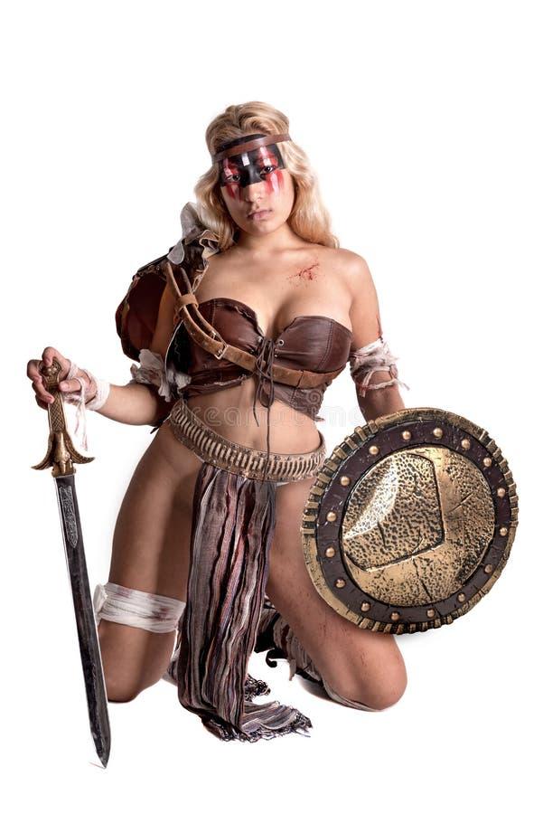 Gladiator γυναικών/αρχαίος πολεμιστής στοκ εικόνες με δικαίωμα ελεύθερης χρήσης