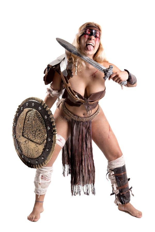 Gladiator γυναικών/αρχαίος πολεμιστής στοκ φωτογραφία με δικαίωμα ελεύθερης χρήσης