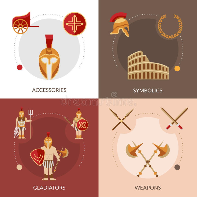 Gladiator επίπεδο σύνολο διανυσματική απεικόνιση