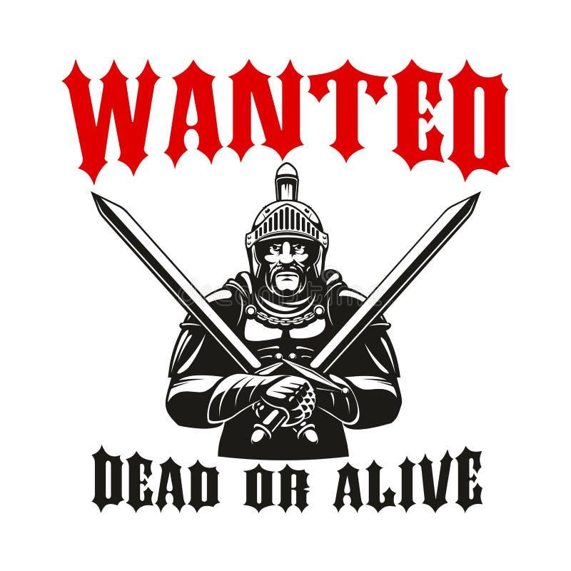 Gladiator πολεμιστών διανυσματικό σημάδι ιπποτών ελεύθερη απεικόνιση δικαιώματος