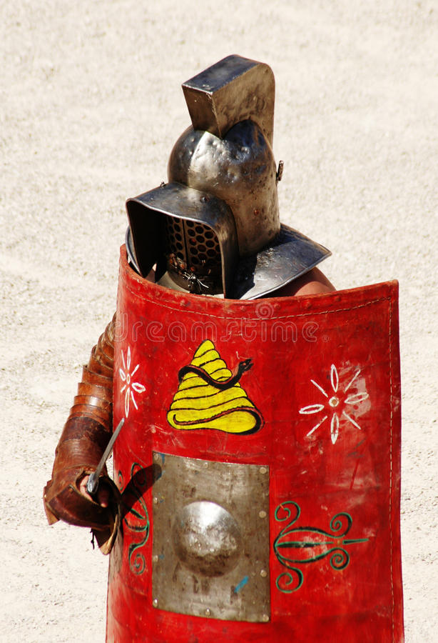 Gladiator. In the circus sand stock image