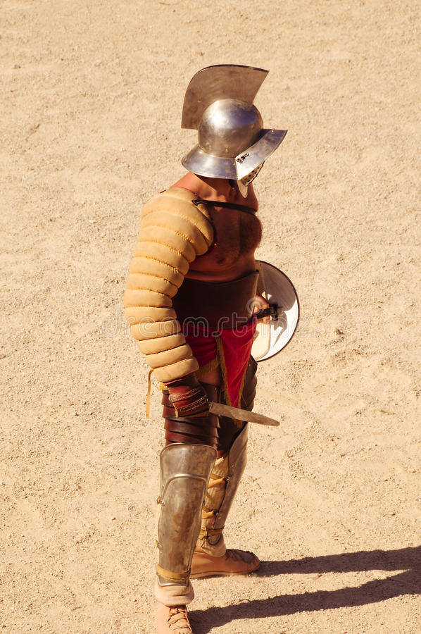 Gladiator. A gladiator on the arena of an amphitheater in tarragona,spain. may 23 2010 royalty free stock image