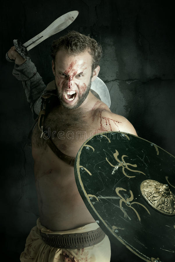Gladiator/barbar- krigare royaltyfria foton