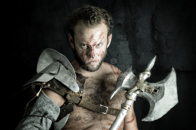 Gladiator/barbar- krigare arkivbilder