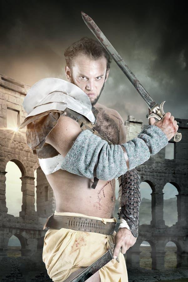 Gladiator/barbar- krigare arkivbild