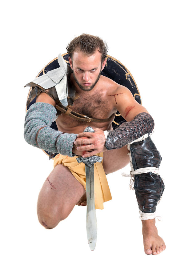 Gladiator/barbar- krigare arkivfoton