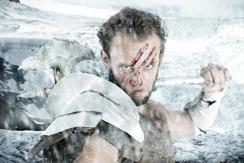 Gladiator/barbar- krigare royaltyfria bilder