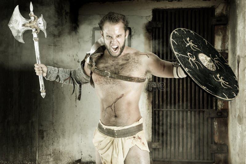 Gladiator/barbar- krigare arkivfoto