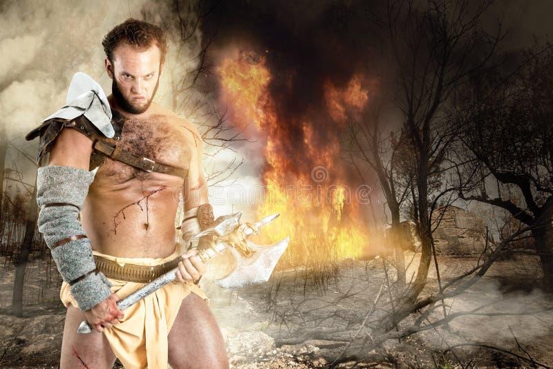Gladiator/barbar- krigare royaltyfri bild