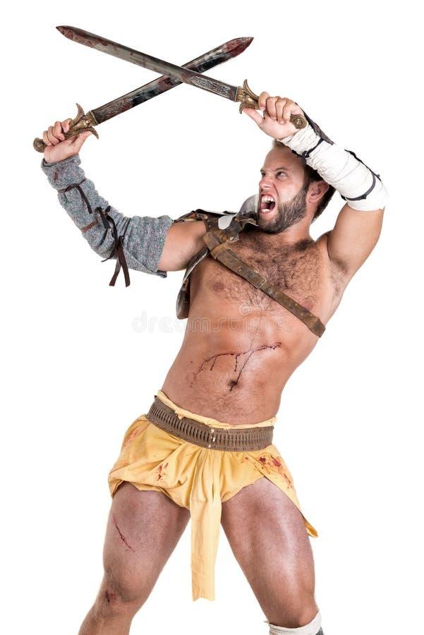 Gladiator/krigare som isoleras i vit royaltyfri bild