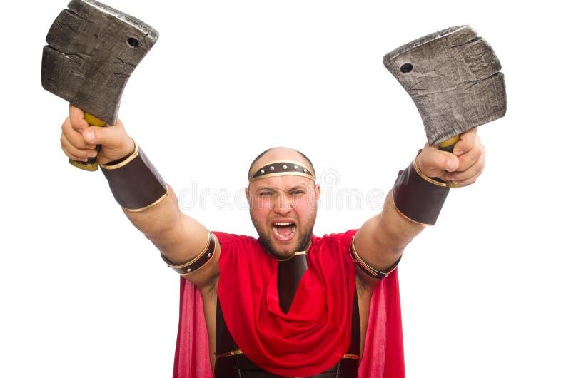 Gladiator met het mes dat van de slager op wordt geïsoleerd stock foto