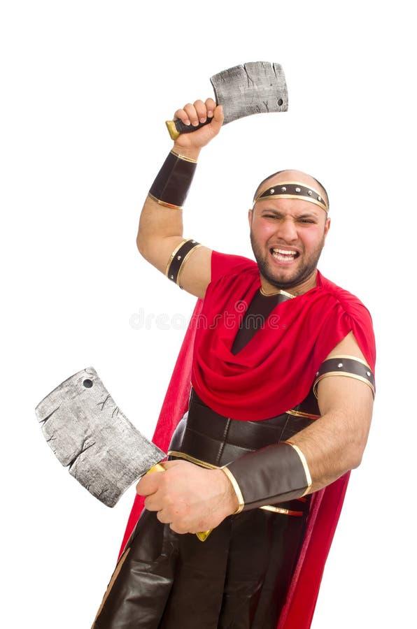 Gladiator met het mes van de slager op wit wordt geïsoleerd dat royalty-vrije stock fotografie