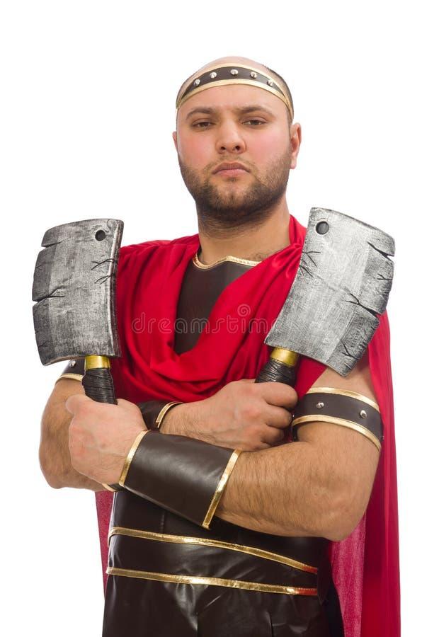 Gladiator op het wit wordt geïsoleerd dat stock afbeeldingen