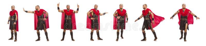 Gladiator op witte achtergrond wordt ge?soleerd die royalty-vrije stock afbeeldingen