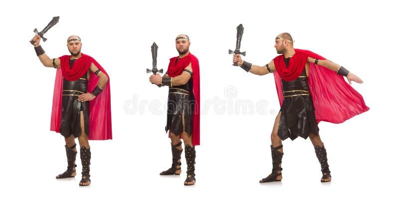 Gladiator op witte achtergrond wordt ge?soleerd die royalty-vrije stock afbeelding