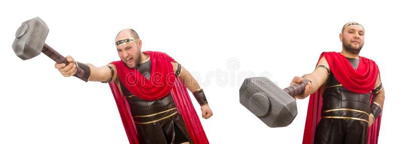 Gladiator op witte achtergrond wordt ge?soleerd die royalty-vrije stock foto's