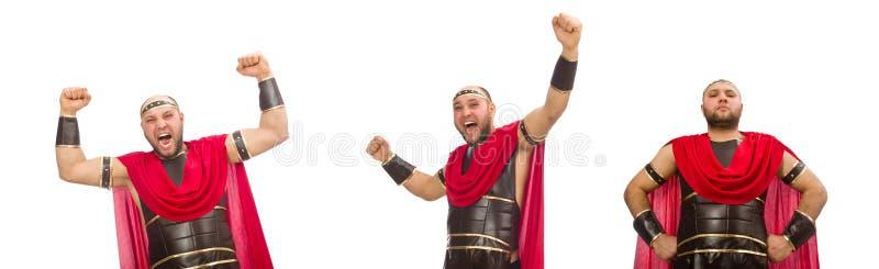 Gladiator op witte achtergrond wordt ge?soleerd die stock foto's