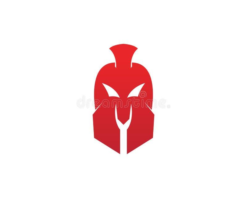 Gladiator-Spartan-Sturzhelmlogoschablonen-Vektorikone lizenzfreie abbildung