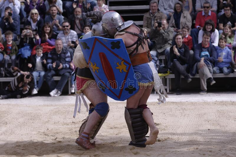 Gladiator Sport Display. Gladiator sport exhibition on the anniversary of the foundation of the city of Zaragoza stock images