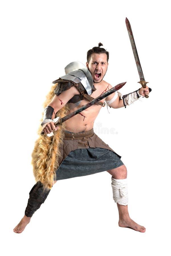 Gladiator/Strijder in wit wordt geïsoleerd dat stock foto