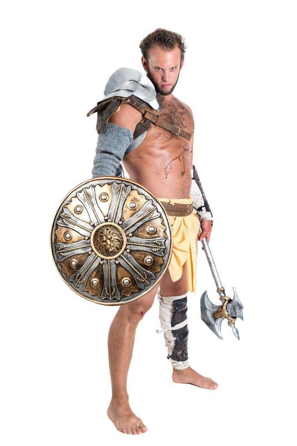 Gladiator/Strijder in wit wordt geïsoleerd dat stock afbeelding