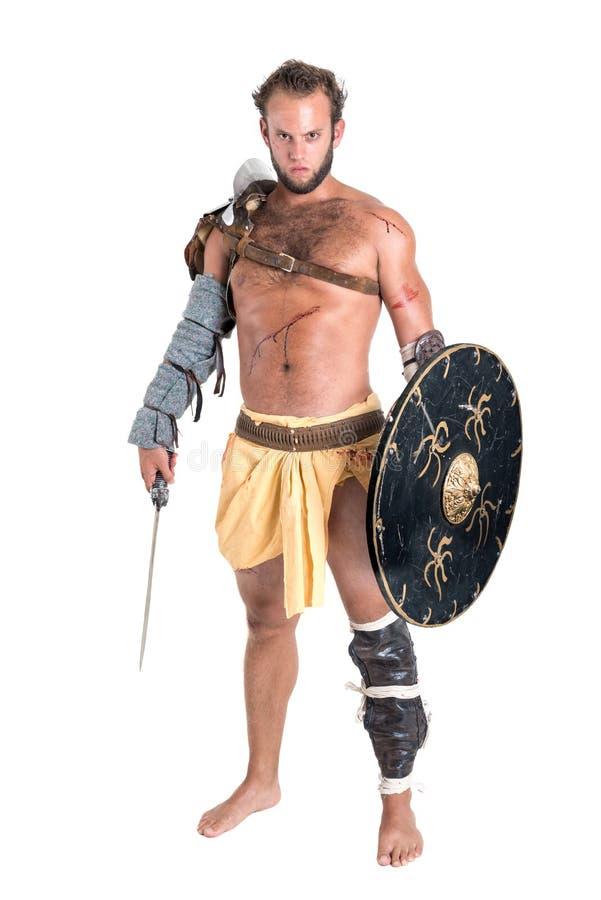 Gladiator/Strijder in wit wordt geïsoleerd dat royalty-vrije stock afbeelding
