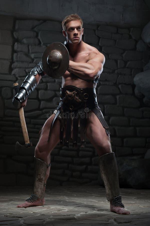 Gladiator z osłoną i cioską obraz royalty free