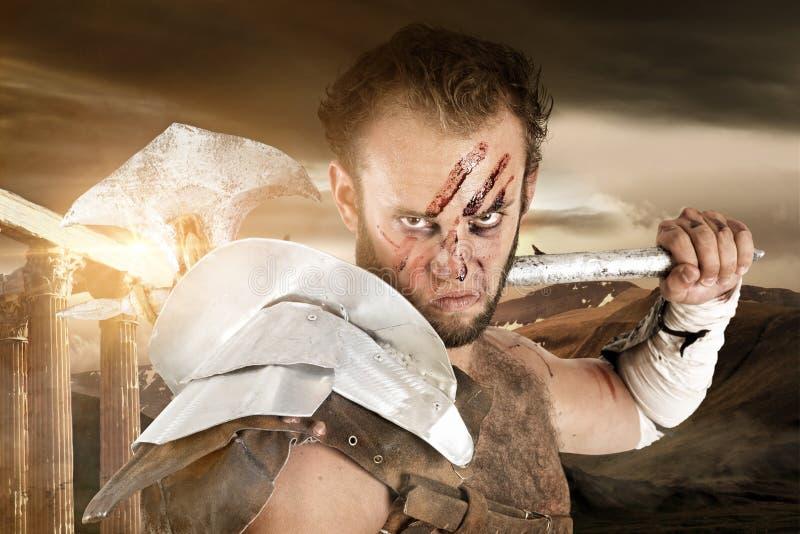 Gladiatora, barbarzyńcy wojownik/ fotografia stock
