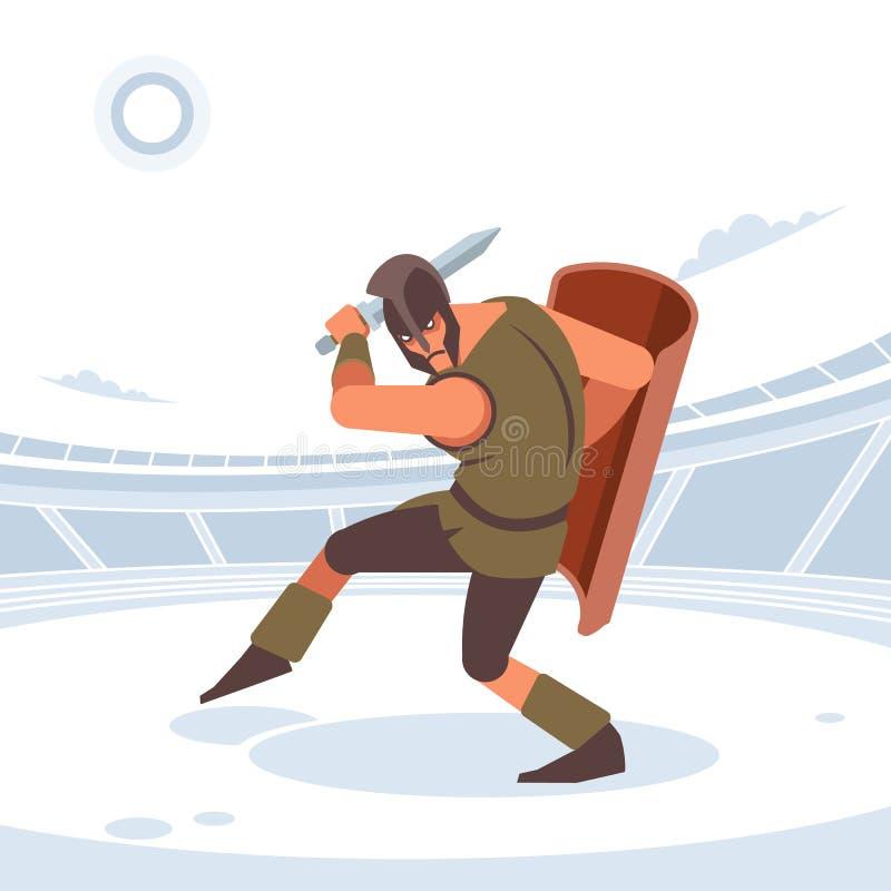 Gladiatore con spada e armatura Figura isolata vettoriale Stile piatto fotografia stock