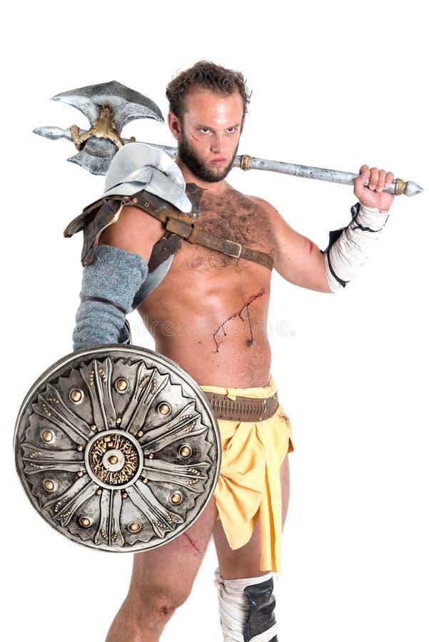 Gladiatore/guerriero antichi isolato fotografia stock libera da diritti