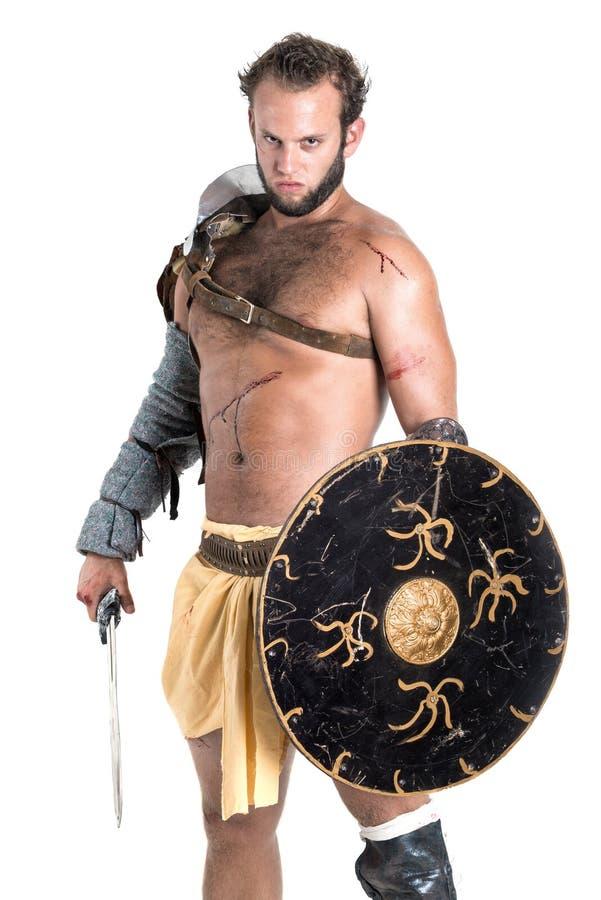 Gladiatore/guerriero barbaro fotografia stock libera da diritti