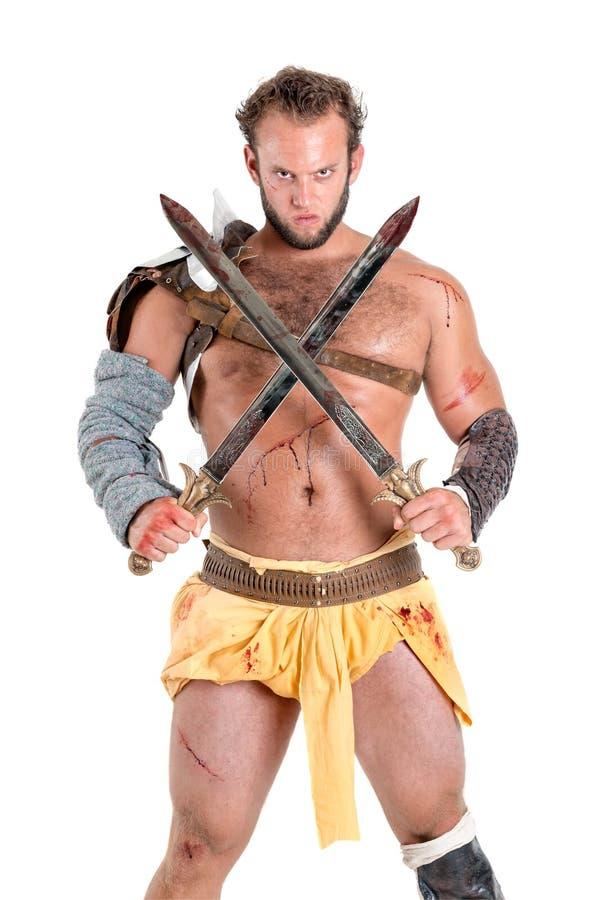 Gladiatore/guerriero barbaro immagine stock libera da diritti