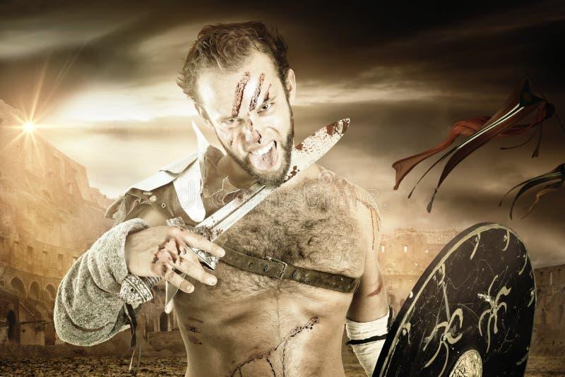 Gladiatore/guerriero barbaro immagini stock