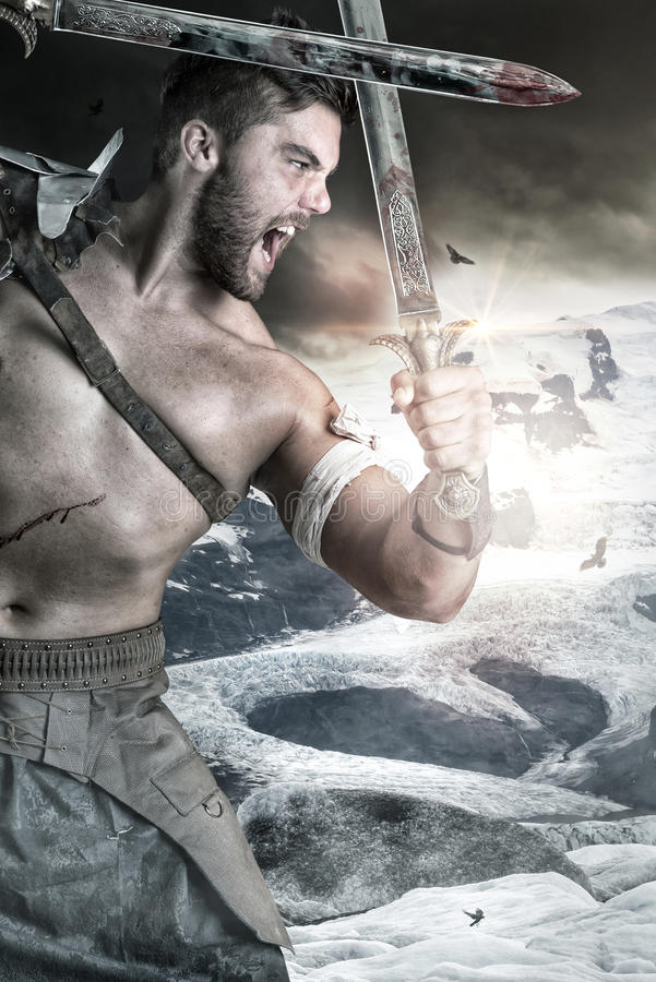 Gladiatore/guerriero barbaro immagini stock libere da diritti
