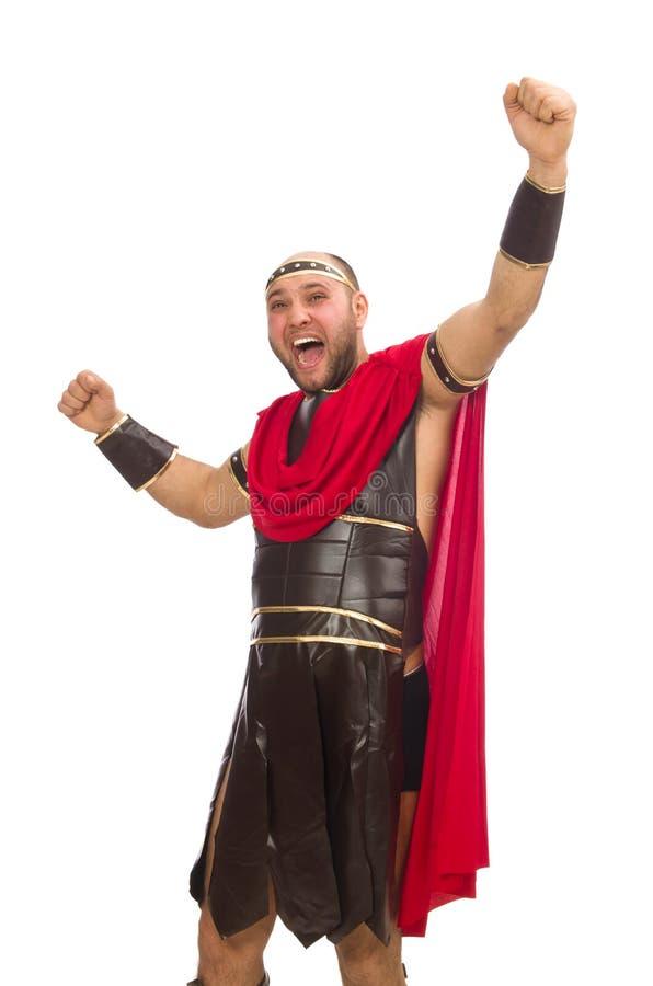 Gladiatore isolato su bianco fotografia stock libera da diritti