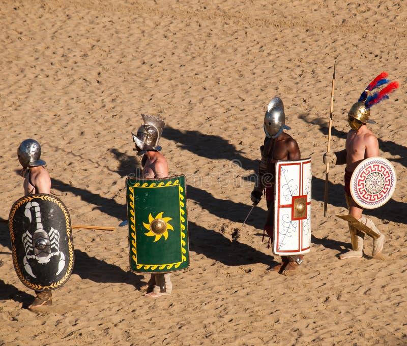 Gladiatoren in de arena royalty-vrije stock foto