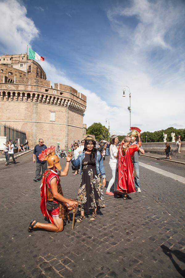 Gladiatoren - Rom Castel Sant Angelo lizenzfreies stockfoto