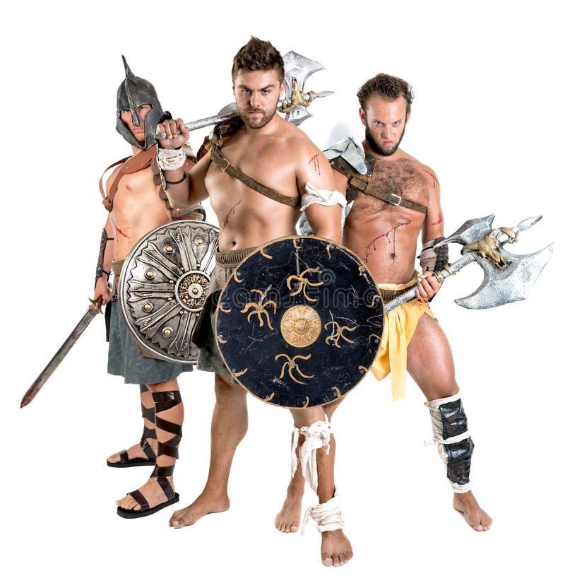 Gladiatorer/barbar- krigare arkivbild