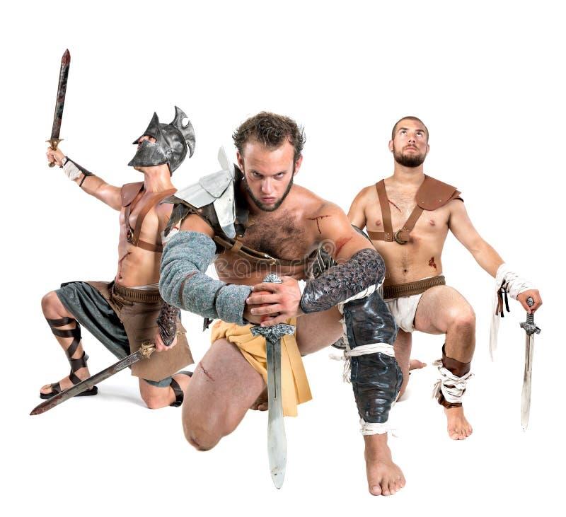 Gladiatorer/barbar- krigare arkivbilder