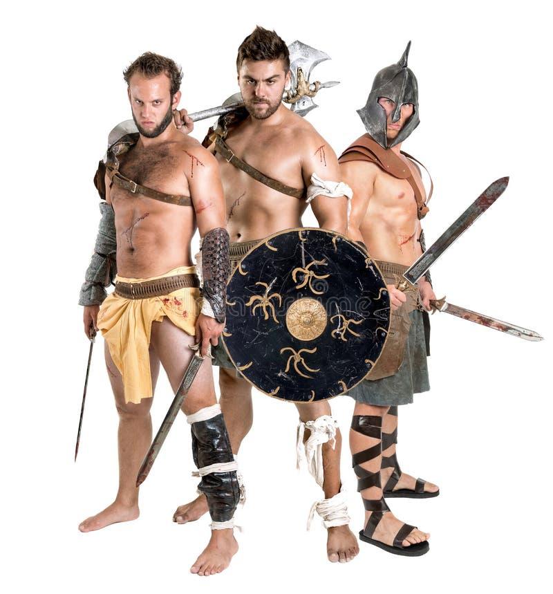 Gladiatorer/barbar- krigare royaltyfri bild